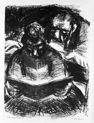Benjamin Kopman (American, 1887-1965). Actors Studying Their Parts, 1945. Lithograph, Sheet: 16 x 11 15/16 in. (40.6 x 30.3 cm). Brooklyn Museum, Gift of Leon Pomerance, 73.160.2c. © artist or artist's estate