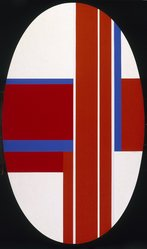Ilya Bolotowsky (American, born Russia, 1907-1981). Red, Blue, White Ellipse, 1973. Acrylic on gessoed linen, 67 7/8 x 39 15/16in. (172.4 x 101.4cm). Brooklyn Museum, Healy Purchase Fund B, 74.169.1. © artist or artist's estate