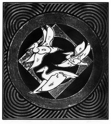 Martin Barooshian (American, born 1929). Three Pelicans in Flight, 1970. Etching in color, Image: 19 5/8 x 17 3/4 in. (49.8 x 45.1 cm). Brooklyn Museum, Gift of Mr. and Mrs. Samuel Dorsky, 74.178.8. © artist or artist's estate