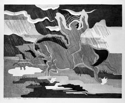 Stanton Macdonald-Wright (American, 1890-1973). Naked in the Rain Riding a Naked Horse, 1966-1967. Woodcut, Sheet: 17 15/16 x 21 7/16 in. (45.6 x 54.5 cm). Brooklyn Museum, Anonymous gift, 74.181.13. © artist or artist's estate