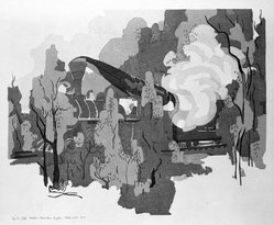 Stanton Macdonald-Wright (American, 1890-1973). A Train Passes, How the Smoke Swirls, Round the Young Leaves, 1966-1967. Woodcut, Sheet: 17 15/16 x 21 7/16 in. (45.6 x 54.5 cm). Brooklyn Museum, Anonymous gift, 74.181.16. © artist or artist's estate