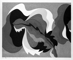 Stanton Macdonald-Wright (American, 1890-1973). The Sound of a Cracked Temple Bell is also Hot under a Summer Moon, 1966-1967. Woodcut, Sheet: 17 15/16 x 21 7/16 in. (45.6 x 54.5 cm). Brooklyn Museum, Anonymous gift, 74.181.20. © artist or artist's estate