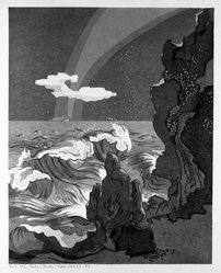 Stanton Macdonald-Wright (American, 1890-1973). Wild Sea and the Milky Way Athwart the Island of Sado, 1966-1967. Woodcut, Sheet: 21 7/16 x 17 15/16 in. (54.5 x 45.6 cm). Brooklyn Museum, Anonymous gift, 74.181.4. © artist or artist's estate