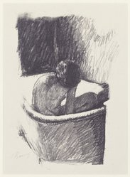 Pierre Bonnard (French, 1867-1947). The Bath, Second Version (Le Bain [deuxième planche]), ca. 1925. Lithograph on laid China paper, Sheet: 14 3/8 x 10 5/8 in. (36.5 x 27 cm). Brooklyn Museum, Designated Purchase Fund, 74.35. © artist or artist's estate