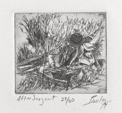 James A. Bossley (American, born 1943). After Sargent, 1974. Etching on paper, Image: 2 9/16 x 2 15/16 in. (6.5 x 7.5 cm). Brooklyn Museum, Gift of the artist, 75.138.4. © artist or artist's estate