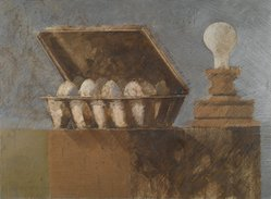 Reginald Case (American, 1937-2009). Number Seventy-Four, Lightbulb, Egg Carton, 1970. Mixed media drawing; colored pencil, raw pigment on board, 31 x 41 in. (78.7 x 104.1 cm). Brooklyn Museum, Gift of the artist, 75.14. © artist or artist's estate