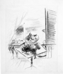Yasuo Kuniyoshi (American, born Japan, 1889-1953). Still Life and Open Window, 1931. Graphite on paper, Sheet: 16 15/16 x 13 7/8 in. (43 x 35.2 cm). Brooklyn Museum, Gift of Mr. and Mrs. H. Lawrence Herring, 75.211.2. © artist or artist's estate