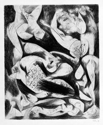 Jackson Pollock (American, 1912-1956). Untitled (No. 5 Series of 7), 1944-1945. Engraving on paper, sheet: 21 1/2 x 14 11/16 in. (54.6 x 37.3 cm). Brooklyn Museum, Gift of Lee Krasner Pollack, 75.213.5. © artist or artist's estate