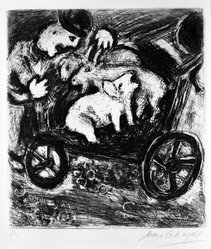 Marc Chagall (French, born Russia, 1887-1985). The Shepherd and His Flock, 1927. Etching and drypoint on laid paper with deckle edge (right and bottom), Plate: 11 5/8 x 10 1/2 in. (29.5 x 26.7 cm). Brooklyn Museum, Gift of Mr. and Mrs. Charles K. Wilkinson, 75.80. © artist or artist's estate