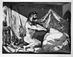 Pablo Picasso (Spanish, 1881-1973). Faune Dévoilant une Dormeuse (Jupiter et Antiope, d'après Rembrandt), 1936. Aquatint on laid paper with deckled edges on all sides, Sheet: 13 7/16 x 17 1/2 in. (34.1 x 44.5 cm). Brooklyn Museum, Gift of The Roebling Society in honor of Jo Miller and Designated Purchase Fund, 75.81. © artist or artist's estate