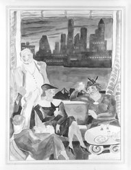 Marguerite Thompson Zorach (American, 1887-1968). Cocktail Party in Brooklyn Heights. Watercolor Brooklyn Museum, Gift of Dr. and Mrs. Sidney Hook, 76.121. © artist or artist's estate