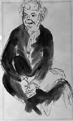 Robert Henri (American, 1865-1929). Woman Sitting with Hands Clasped in Her Lap, n.d. Pen, ink and wash on paper, Sheet: 8 7/8 x 5 1/2 in. (22.5 x 14 cm). Brooklyn Museum, Gift of Dr. and Mrs. Theodore Leshner, 76.127.2. © artist or artist's estate