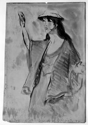 Robert Henri (American, 1865-1929). Woman with Hand Raised, n.d. Watercolor and graphite on paper, Sheet (slightly irregular): 12 7/16 x 9 3/4 in. (31.6 x 24.8 cm). Brooklyn Museum, Gift of Dr. and Mrs. Theodore Leshner, 76.127.9. © artist or artist's estate