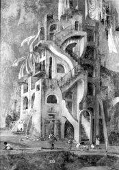 Eugene Berman (American, 1899-1972). Balconies and Stairways, 1954. Oil on canvasboard (mounted on strainer), 37 7/8 x 23 in. (96.2 x 58.4 cm). Brooklyn Museum, Gift of Michael de Havenon, 76.190.1. © artist or artist's estate
