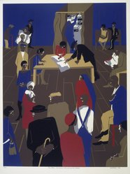 Jacob Lawrence (American, 1917-2000). The '20's...The Migrants Cast Their Ballots, 1974. Serigraph, Sheet: 34 1/8 x 27 5/8 in. (86.7 x 70.2 cm). Brooklyn Museum, Gift of Lorillard, 76.77.8. © artist or artist's estate