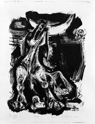 Romas Viesulas (American, born Lithuania, 1918-1986). Dog, 1952. Lithograph on paper, sheet: 17 7/8 x 13 in. (45.4 x 33 cm). Brooklyn Museum, Gift of Mr. and Mrs. Kestutis Pliuskonis, 77.112.25. © artist or artist's estate
