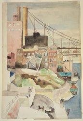 Marguerite Thompson Zorach (American, 1887-1968). Manhattan Landscape with View of the Queensboro Bridge - Brooklyn Landscape, ca. 1937. Watercolor and graphite on off white, moderately thick, slightly textured wove paper, 21 7/8 x 15 1/8 in. (55.6 x 38.4 cm). Brooklyn Museum, Gift of Professor and Mrs. Sidney Hook, 77.147. © artist or artist's estate