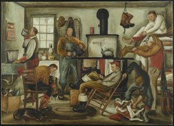 Dahlov Ipcar (American, born 1917). Dawn of a Hunting Morning, ca. 1946. Oil on canvas, 31 15/16 x 44 in.  (81.1 x 111.8 cm);. Brooklyn Museum, Gift of George K. Hourwich, 77.148. © artist or artist's estate