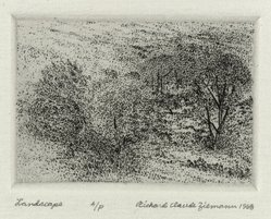 Richard Claude Ziemann (American, born 1932). Landscape, 1968. Etching on paper, sheet: 8 3/4 x 8 9/16 in. (22.2 x 21.7 cm). Brooklyn Museum, Gift of the artist, 77.162.1. © artist or artist's estate
