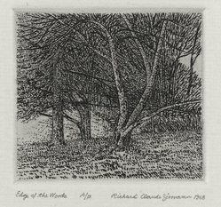 Richard Claude Ziemann (American, born 1932). Edge of the Woods, 1968. Etching on paper, sheet: 8 3/4 x 8 9/16 in. (22.2 x 21.7 cm). Brooklyn Museum, Gift of the artist, 77.162.2. © artist or artist's estate