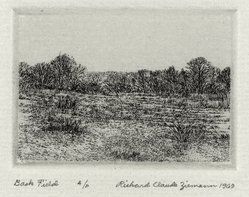 Richard Claude Ziemann (American, born 1932). Back Field, 1969. Etching on paper, sheet: 8 3/4 x 8 7/8 in. (22.2 x 22.6 cm). Brooklyn Museum, Gift of the artist, 77.162.5. © artist or artist's estate