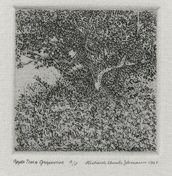 Richard Claude Ziemann (American, born 1932). Apple Tree and Grapevine, 1967. Etching on paper, sheet: 8 3/4 x 8 1/2 in. (22.2 x 21.6 cm). Brooklyn Museum, Gift of the artist, 77.162.6. © artist or artist's estate