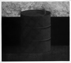 Edward Shalala (American, born 1949). Oil Landscape, 1974. Mezzotint & soft-ground on paper, sheet: 22 3/8 x 29 7/8 in. (56.8 x 75.9 cm). Brooklyn Museum, Designated Purchase Fund, 77.165.2. © artist or artist's estate