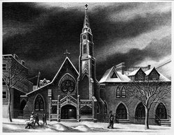 Ernest Fiene (American, 1894-1965). St. Michael's in Brooklyn, 1947. Lithograph on wove paper, 9 1/2 x 12 3/16 in. (24.1 x 31 cm). Brooklyn Museum, Designated Purchase Fund, 77.170.1. © artist or artist's estate