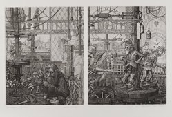 Mark A. Leithauser (American, born 1950). Horological Fascination, 1974. Etching and engraving on paper, sheet: 11 3/8 x 16 1/4 in. (28.9 x 41.3 cm). Brooklyn Museum, Designated Purchase Fund, 77.19.1. © artist or artist's estate