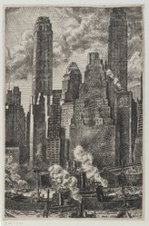 Reginald Marsh (American, 1898-1954). Wall Street, 1931. Etching with black ink on off-white, heavy weight, slightly textured wove paper, Sheet: 15 9/16 x 13 in. (39.5 x 33 cm). Brooklyn Museum, Gift of Associated American Artists, 77.223. © artist or artist's estate