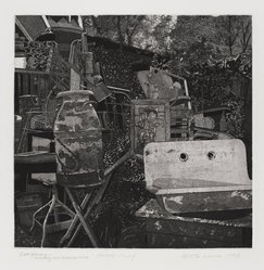 Martin Levine (American, born 1945). Everything, Including the Kitchen Sink, 1973. Intaglio (etching and aquatint) on paper, sheet: 17 x 15 1/8 in. (43.2 x 38.4 cm). Brooklyn Museum, Gift of Stephen Foster, 77.224.24. © artist or artist's estate