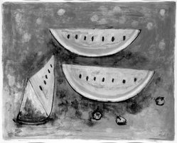 Rufino Tamayo (Mexican, 1899-1991). Watermelon, 1952. Lithograph on paper, sheet: 19 3/4 x 25 9/16 in. (50.2 x 64.9 cm). Brooklyn Museum, Gift of Mr. and Mrs. Carl L. Selden, 77.228.2. © D.R. Rufino Tamayo / Herederos / México. Fundación Olga y Rufino Tamayo, A.C.