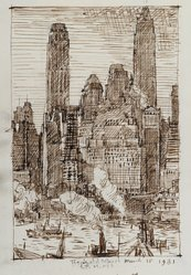 Reginald Marsh (American, 1898-1954). Wall Street, March 18, 1931. Brown ink with graphite underdrawing on cream, medium weight, slightly textured wove paper, Sheet: 9 x 6 7/16 in. (22.9 x 16.4 cm). Brooklyn Museum, Designated Purchase Fund, 77.232.3. © artist or artist's estate