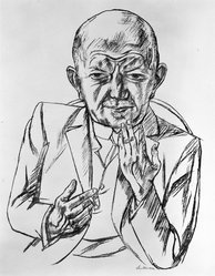Max Beckmann (German, 1884-1950). Portrait of Dr. Weidner (Bildnis Dr. Weidner), 1921. Lithograph on wove paper, Image: 21 x 16 in. (53.3 x 40.6 cm). Brooklyn Museum, Designated Purchase Fund, 77.236.5. © artist or artist's estate