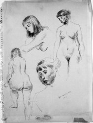 Raphael Soyer (American, born Russia, 1899-1987). Untitled, 1941. Brown ink on paper, Sheet: 12 5/8 x 9 1/2 in. (32.1 x 24.1 cm). Brooklyn Museum, Gift of Morton Ostrow, 77.276. © Estate of Raphael Soyer