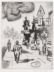 Jacob Kainen (American, 1909-2001). Pedestrians, 1955. Drypoint, Sheet: 10 15/16 x 8 11/16 in. (27.8 x 22.1 cm). Brooklyn Museum, Gift of Mrs. B. S. Cole, 77.63.1. © artist or artist's estate