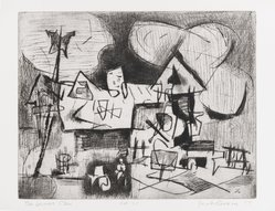 Jacob Kainen (American, 1909-2001). The Corner Store, 1955. Drypoint, Sheet: 10 x 13 13/16 in. (25.4 x 35.1 cm). Brooklyn Museum, Gift of Mrs. B. S. Cole, 77.63.4. © artist or artist's estate