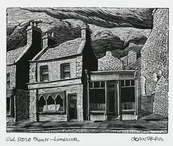 John DePol (American, 1913-2004). Old Store Fronts - Limerick, 1977. Wood engraving, Sheet: 8 1/2 x 11 in. (21.6 x 27.9 cm). Brooklyn Museum, Gift of Don Wesely, 78.101.59.4. © artist or artist's estate