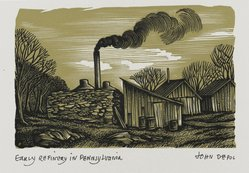 John DePol (American, 1913-2004). Early Refinery in Pennsylvania, 1959. Wood engraving, Sheet: 10 15/16 x 8 7/16 in. (27.8 x 21.4 cm). Brooklyn Museum, Gift of Don Wesely, 78.101.60.2. © artist or artist's estate