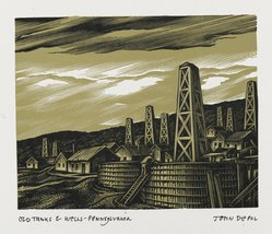 John DePol (American, 1913-2004). Old Tanks and Wells - Pennsylvania, 1959. Wood engraving, Sheet: 10 15/16 x 8 7/16 in. (27.8 x 21.4 cm). Brooklyn Museum, Gift of Don Wesely, 78.101.60.4. © artist or artist's estate
