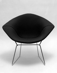 """Harry Bertoia (American, born Italy, 1915-1978). """"Diamond"""" Armchair, Designed 1952; Manufactured ca. 1970. Steel, plastic, rubber, cotton, Overall: 30 x 34 x 28 in.  (76.2 x 86.4 x 71.1 cm.). Brooklyn Museum, Gift of Knoll International, Inc., 78.128.8. © artist or artist's estate"""