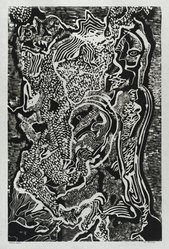 Hilda Katz (American, 1909-1997). St. George #1, 1964. Linocut block print, on white laid paper, Sheet: 20 3/4 x 15 1/2 in. (52.7 x 39.4 cm). Brooklyn Museum, Gift of Hilda Katz, 78.154.11. © artist or artist's estate