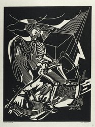 Hilda Katz (American, 1909-1997). The Flood, 1949. Linocut on cream rice paper, Sheet: 18 7/8 x 14 5/8 in. (47.9 x 37.1 cm). Brooklyn Museum, Gift of Hilda Katz, 78.154.12. © artist or artist's estate