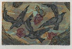 Hilda Katz (American, 1909-1997). Sea Wings and Shells #2, 1959. Linocut on white laid paper, Sheet: 14 1/4 x 19 in. (36.2 x 48.3 cm). Brooklyn Museum, Gift of Hilda Katz, 78.154.14. © artist or artist's estate