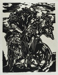 Hilda Katz (American, 1909-1997). Cockscomb, 1963. Linocut on white laid paper, Sheet: 19 1/4 x 14 1/4 in. (48.9 x 36.2 cm). Brooklyn Museum, Gift of Hilda Katz, 78.154.17. © artist or artist's estate