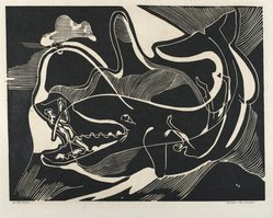 Hilda Katz (American, 1909-1997). Jonah and the Whale, 1950. Linocut on white wove paper, Sheet: 14 1/2 x 19 in. (36.8 x 48.3 cm). Brooklyn Museum, Gift of Hilda Katz, 78.154.29. © artist or artist's estate