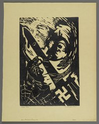 Hilda Katz (American, 1909-1997). Four Freedoms Series (Group of Four): Speech, Want, Religion, and Freedom from Fear, ca. 1945. Linocut on cream wove paper, Sheet (Each print): 13 3/4 x 10 1/8 in. (34.9 x 25.7 cm). Brooklyn Museum, Gift of Hilda Katz, 78.154.30a-d. © artist or artist's estate