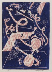 Hilda Katz (American, 1909-1997). Boy with a Top, n.d. Linocut in color on wove paper, Sheet: 9 7/8 x 7 in. (25.1 x 17.8 cm). Brooklyn Museum, Gift of Hilda Katz, 78.154.3. © artist or artist's estate