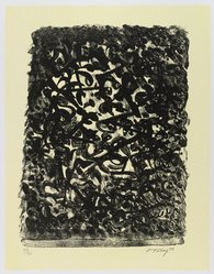 Mark Tobey (American, 1890-1976). Black By Yellow, 1973. Lithograph on paper, sheet: 17 1/2 x 14 1/4 in. (44.5 x 36.2 cm). Brooklyn Museum, Gift of Everett Lowe, 78.223.3. © artist or artist's estate