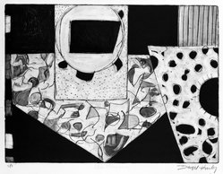 Denzil H. Hurley (American, born Barbados, West Indies, 1949). Other Places #2, 1977. Engraving, drypoint, etching and sugarlift, Sheet: 16 1/16 x 22 in. (40.8 x 55.9 cm). Brooklyn Museum, Designated Purchase Fund, 78.233.1. © artist or artist's estate